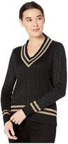 Lauren Ralph Lauren Petite Metallic Cricket Sweater (Polo Black/Gold) Women's Clothing