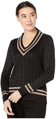 Lauren Ralph Lauren Petite Metallic Cricket Sweater (Polo Black/Gold) Women's Clothing