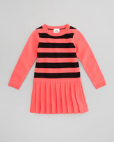 Milly Minis Striped Knit Sweater Dress, Fluo Melon/Black, Sizes 2-6
