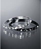 set of 2 - gunmetal and silver spike bangles