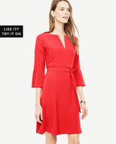 Ann Taylor Petite Fluted Sleeve Flare Dress