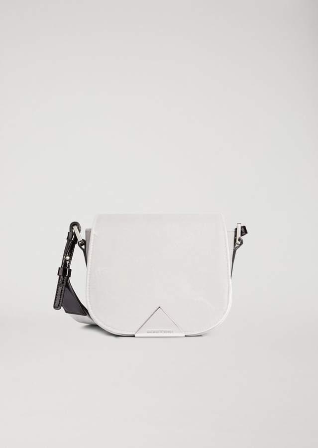Emporio Armani Velvet Crossbody Bag With Metal Triangular Detail