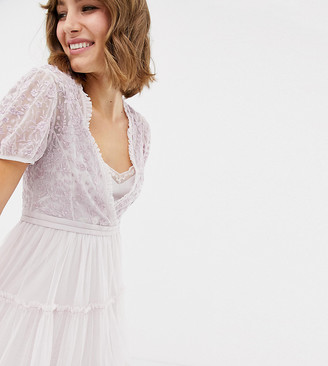 Needle & Thread embroidered tulle midi dress with cap sleeve in lavender-Purple