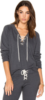 Monrow Lace Up Sweatshirt