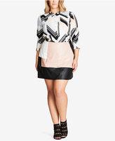 City Chic Trendy Plus Size Faux-Leather Mini Skirt