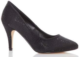 Quiz Black Satin Diamante Court Shoes