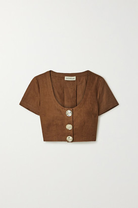 Nicholas Lou Pleated Linen Cropped Top - Brown