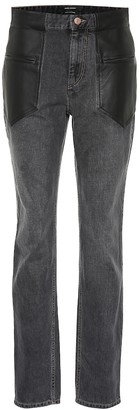 Isabel Marant Novera leather-trimmed jeans
