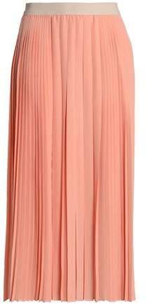 Agnona Pleated Silk Midi Skirt