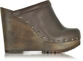 See by Chloe Dark Brown Leather Wedge Mule