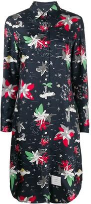 Thom Browne Hawaiian-print silk shirt dress