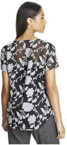 Joe Fresh Women's Sheer Floral Blouse, Black (Size M)