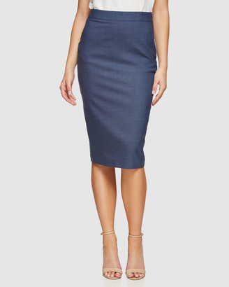 Oxford Peggy Wool Stretch Suit Skirt