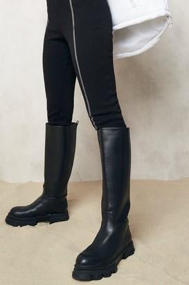 boohoo Pull On Chunky Knee High Boots