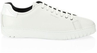 Salvatore Ferragamo Cube Leather Low-Top Sneakers