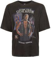 Topman Black Wwe Steve Austin Print Oversized T-shirt