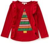 Copper Key Little Girls 2T-6X Christmas Glitter-Tree Top