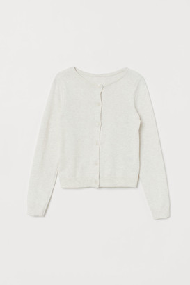 H&M Fine-knit Cotton Cardigan - White