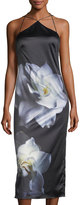 Phoebe Couture Floral-Print Silky Slip Dress