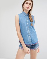 Anna Sui Sleeveless Denim Shirt with Signature Print to Reverse