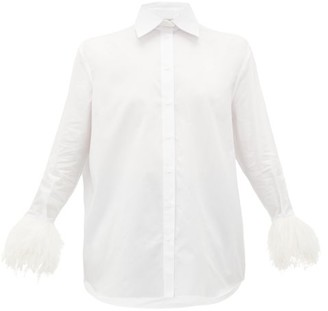 Valentino Feathered-cuff Cotton Shirt - Womens - White