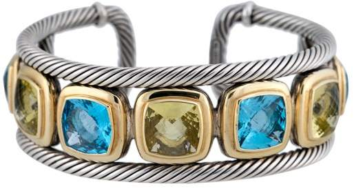 David Yurman Sterling Silver and 18K Yellow Gold Blue Topaz and Citrine Cuff Bracelet