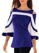 MuCoo Women's Color Block Cutout Cold Shoulder Top Blouse Tshirt M