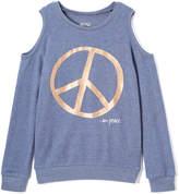 Peace Love World Heather Denim Peace Sign Cutout Top - Girls