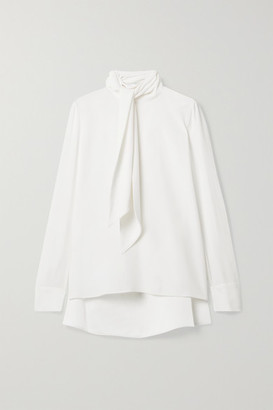 ADAM by Adam Lippes Pussy-bow Satin-trimmed Crepe Blouse - Ivory