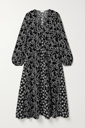 Stine Goya Leila Paneled Printed Cloque Midi Dress - Black