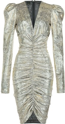 Pinko Exaggerated-Shoulder Metallic Midi Dress
