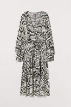 H&M Creped Wrap-front Dress - Black