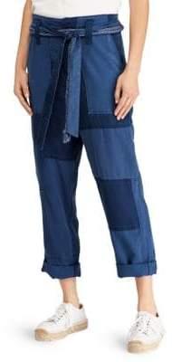 Polo Ralph Lauren Women's Belted Patchwork Pants - Indigo - Size 8