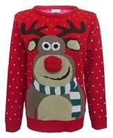 Fashion Essentials-womens Unisex Rudolph Print 3d Nose Pom Pom Christmas Jumper (M, )