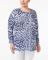 JM Collection Plus Size Linen Animal-Print Tunic, Only at Macy's