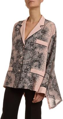 Valentino Lace-Print Crepe Bell-Sleeve Pajama Blouse