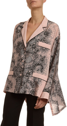 Valentino Lace-Print Crepe Bell-Sleeve Pajama Blouse