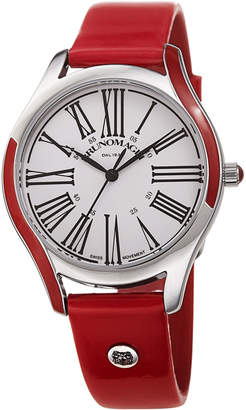 Bruno Magli 36mm Alessia Enamel Watch w/ Patent Leather, Red/Silver