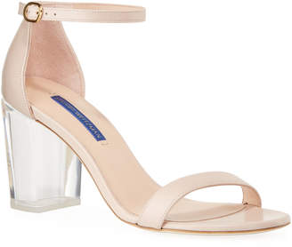 Stuart Weitzman Nearlynude Clear-Heel Leather Sandals