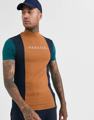 Asos Design DESIGN skinny t-shirt with turtle neck in vertical colour block and chest print-Multi