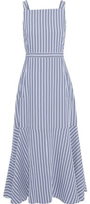Tibi Fluted Cutout Striped Twill Midi Dress