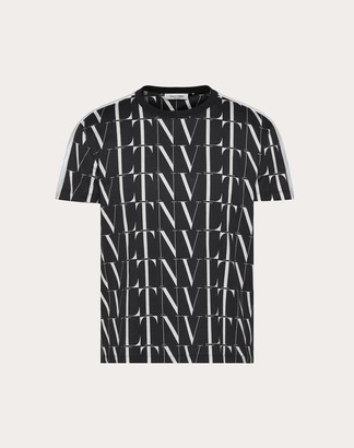 Valentino T-shirt With Vltn Times Print Man Black/white Cotton 100% M