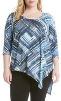Karen Kane Plus Size Women's Blue Diamond Print Asymmetrical Top