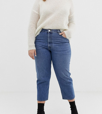 ASOS DESIGN Curve recycled florence authentic straight leg jeans in mid vintage blue