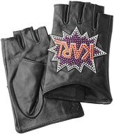 Karl Lagerfeld Embellished Fingerless Leather Gloves
