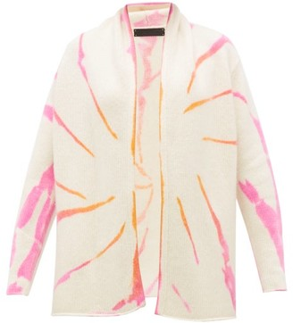 The Elder Statesman Cyclone Tie-dye Cashmere Cardigan - Womens - Pink White
