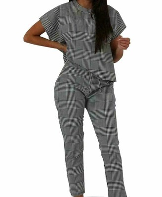 MISS BOHO CHIC Ladies Check Dog Tooth Print Boxy Suit Loungewear Tracksuit Women Party Dress (Grey Check S/M : 8/10)