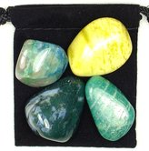 The Magic Is In You DIABETES REGULATOR Tumbled Crystal Healing Set with Pouch & Description Card - Amazonite, Moss Agate, Quantum Quattro, & Serpentine