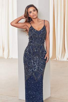 Jessica Rose Sistaglam Special Edition Flory Navy Beaded Maxi Dress