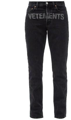 Vetements Logo-print Slim-leg Cotton Jeans - Black